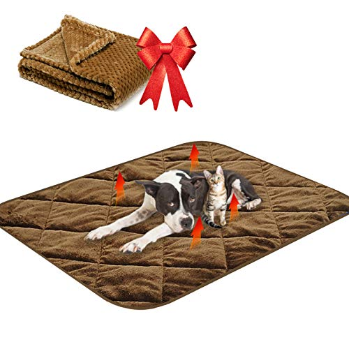 """Self Heating Cat Pad,Plus A Free Fuzzy Pet Bed Blanket,28"""" 20"""" Thermal Bed Mat for Cat and Puppy,Self Warming Crate Mat Washable Kennel Pads for for Kitties Puppies Small Animals"""