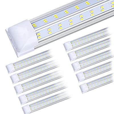 (10-Pack) LED Shop Light, 8FT 92W 13500LM 5000-5500K, Daylight White, V Shape, Clear Cover, Hight Output, Linkable Shop Lights, T8 LED Tube Lights, LED Shop Lights for Garage 8 Foot with Plug