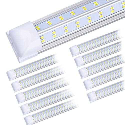 (10-Pack) 8ft LED Shop Light Fixture, 100W 14500LM 6000K, Cold White, V Shape, Clear Cover, Hight Output, Linkable Shop Lights, T8 LED Tube Lights, LED Shop Lights for Garage 8 Foot with Plug