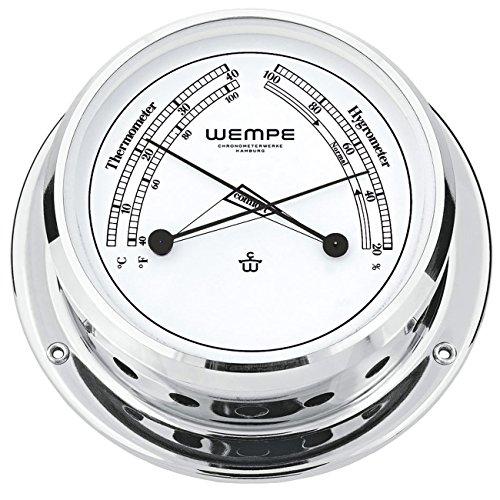 Wempe Messing verchromt Comfortmeter Skiff Ø 110mm - Thermometer & Hygrometer