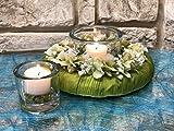 Tidschdeko Tischdekoration Nr.41 Tischgesteck elegant, Gesteck mit Teelicht und Kranz apfelgrün Sommer moderne Tischdeko Sommerdeko