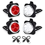 Ceniapr USB Rechargeable Bike Lights Set Head Light (White Light) &Tail Light (LED Red Light) for Road Bicycle Accessories,2 Set