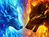 DIY Oil Painting Paint by Number Kit for Kids Adults Beginner - Ice and fire Wolf Animal Drawing with Brushes Home Decor Decorations Gifts 16 x 20 inch (Without Frame)