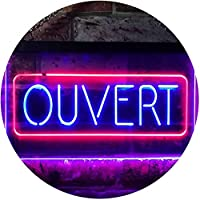 Ouvert Open Shop Bar Club Restaurant Décor Dual Color LED看板 ネオンプレート サイン 標識 赤色 + 青色 300 x 210mm st6s32-i3210-rb