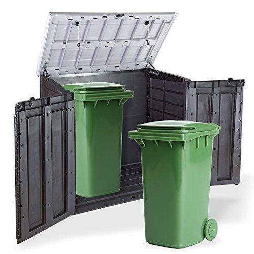 Koll Living Gartenbox Mülltonnenbox Gerätebox Schuppen für 2x 240 Liter Mülltonnen Gratis nur bei uns : inkl. Vorhängeschloss - 3