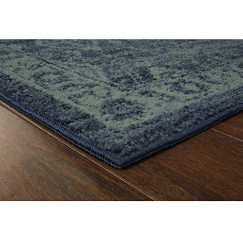 Maples Rugs Georgina Traditional Kitchen Non Skid Accent Area Rug [Made in USA], Navy Blue/Green, 1'8 x 2'10