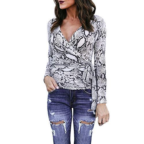 Longra Damen V-Ausschnitt Bluse Langarm Schlange Drucken Bluse Shirt mit Bandage Wickelblusen Mode Damen Slim Fit Hemd Bluse Elegante Oberteil Tops (3XL, Orange)