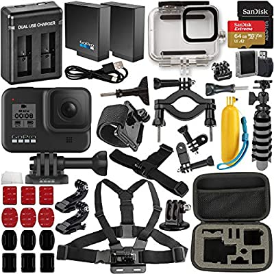 GoPro Hero8 Action Camera (Black) with Extreme Bundle: Includes –Underwater Housing for GoPro Hero8, Seller Replacement Battery, Floating Hand Grip for GoPro, and Much More from GoPro