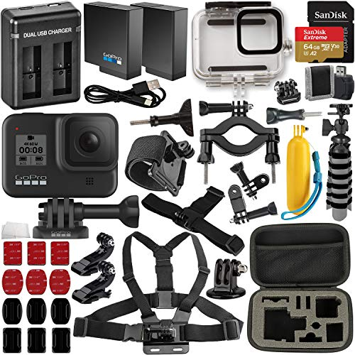 GoPro Hero8 Action Camera (Black) with Extreme Bundle: Includes –Underwater Housing for GoPro Hero8, Seller Replacement Battery, Floating Hand Grip for GoPro, and Much More