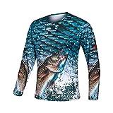 Xinyang Sports Men's UPF 40+ T-Shirt de manga comprida com decote redondo e impressão em alta definição Quick Dry Fishing Jersey (azul, extragrande)