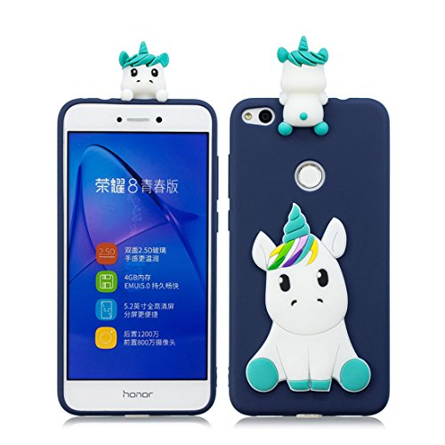 Huawei P8 Lite 2017 carcasa, Unicornio de dibujos animados en 3D Funda Compatible con Huawei P8 Lite 2017 Candy Colors Soft TPU Gel a prueba de golpes de goma impermeable protector Case ( Armada )
