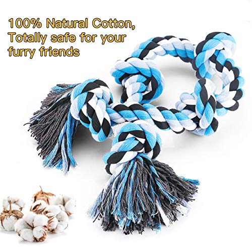 BMAG Dog Rope Toys for Aggressive Chewers, Interactive Heavy Duty Dog Toys for Medium Large Dogs, Tough Twisted Rope Toy with 5 Knots