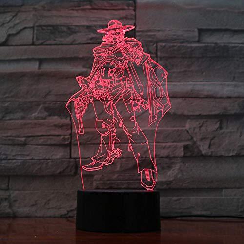 Lámpara de ilusión 3D Juego de luz nocturna LED Overwatch para niños Sensor táctil Usb Jesse Mccree Figura Habitación Regalos decorativos Ow Niño para niños Niños Niñas
