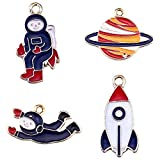Collana da astronauta Versione coreana della collana cielo di Saturno Moda femminile Collana Ciondolo da donna Accessori Collana a razzo Collana di moda (4 pezzi)