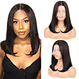 """Huarisi 14""""Glueless Human Hair Wigs Bob Middle Parting Wig Straight Brazilian Hair Wigs for Women Without Bang T Part Lace Wig 150% Density Machine Made 9a Grade Wigs Blunt Cut"""