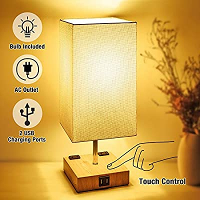 Touch Control Table Lamp, 3-Way Dimmable Modern Bedside Nightstand Lamp with Dual USB Charging Ports & AC Outlets,Fabric Shade,100W Equivalent Vintage LED Bulb Included, for Bedroom Living Room Office