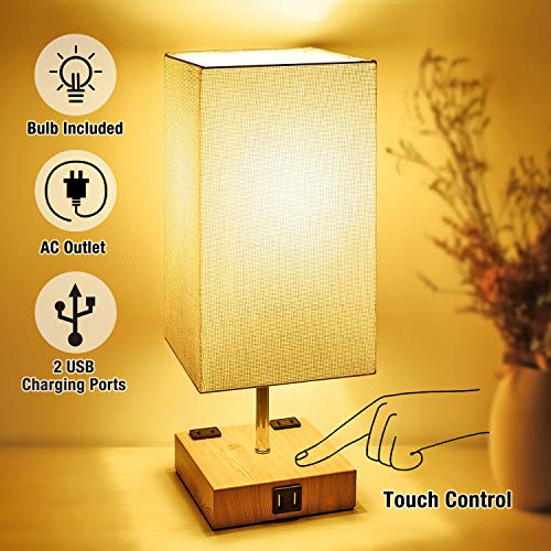 3-Way Touch Control Dimmable Table Lamp Modern Bedside Nightstand Lamps, with 2 USB Charging Ports,2 AC Outlets, Fabric Shade,100W Equivalent Vintage LED Bulb Included, for Bedroom Living Room Office