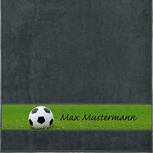 Manutextur Duschtuch mit Namen - personalisiert - Motiv Sport - Fußball - viele Farben & Motive - Dusch-Handtuch - anthrazit - Größe 70x140 cm - persönliches Geschenk mit Wunsch-Motiv und Wunsch-Name
