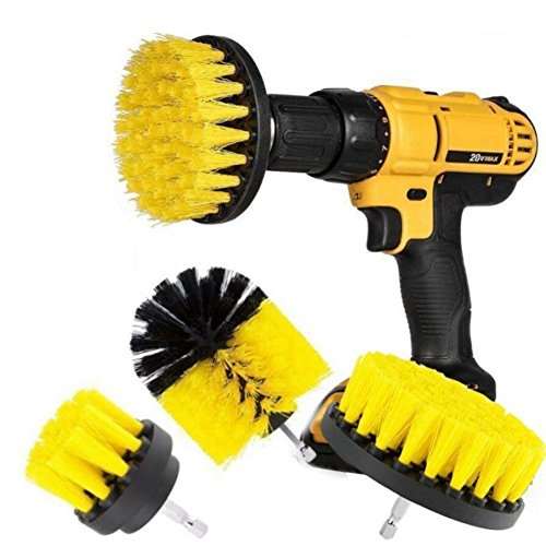 Cepillo de taladro combinado de 3 piezas, ahorra tiempo y mejora la limpieza, ideal para el coche, en baños, suelos de madera y la sala de lavandería