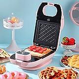 LBF Waflera Máquina Sandwich, Casa Desayuno máquina/Tostadora de luz Alimentos Máquina Multiuso Waffle máquina con 2 Galleta Bandeja + Bandeja de Horno Sandwich de Rosa waflera Antiadherente