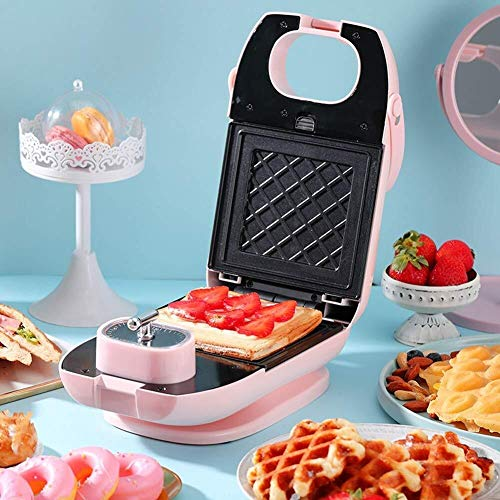 HLR Sandwicheras Máquina Sandwich, Casa Desayuno máquina/Tostadora de luz Alimentos Máquina Multiuso Waffle máquina con 2 Galleta Bandeja + Bandeja de Horno Sandwich de Rosa (Color : A)