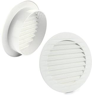 L2 kratka wentylacyjna kratka zamykająca okrągła Ø 100 mm biała z siatką przeciw owadom tworzywo sztuczne ABS odporna na w...