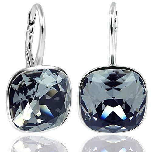 Ohrringe 925 Silber mit Kristallen von Swarovski® Schwarz NOBEL SCHMUCK