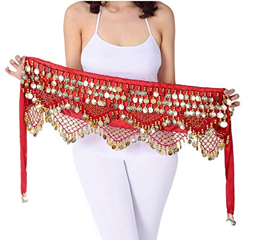 Gypsy Coin Skirt Belly Dance Hip Scarf Red Dance Scarfs Gold Coin Skirts Red