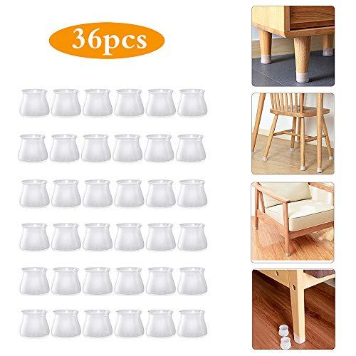 Yolito - Copertura protettiva in silicone per mobili, 36 pezzi, protezione per gambe in silicone, antiscivolo, protezione per il pavimento, protezione per i piedi del tavolo, protegge i piedi e previene graffi