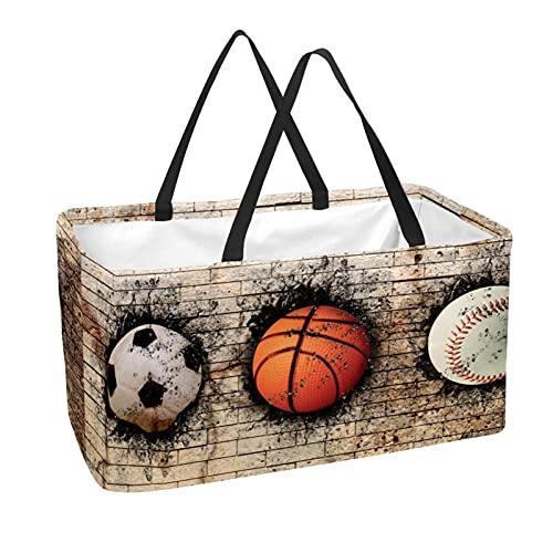 Bolsas reutilizables para comestibles, cesta de la compra, 50 l, con soporte para columna, bolsa de almacenamiento de béisbol