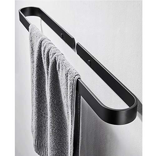 EEUK Percha Toalla Baño Adhesiva Barra de Toalla, Anillo de Toalla Montado en la Pared Toalleros Barra de para Baño y Cocina, Aluminio - Negro,Plata30cm-black