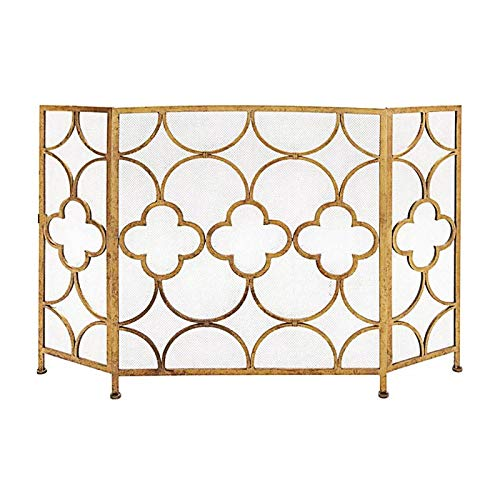 Best Buy! 3-Panel - Wrought Iron Decorative Mesh Fireplace Screen Gate Protector, Fire Spark Guard f...