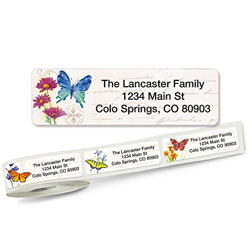 Butterflies and Flowers Rolled Address Labels (5 Designs) Roll of 250