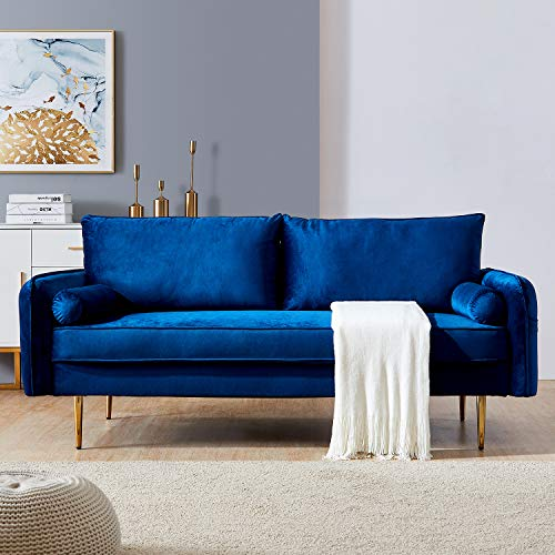Blue Velvet Fabric Sofa Couch,JULYFOX 71 inch Wide Mid Century Modern Living Room Couch with Side Storage Fashion Golden Legs for Small Spaces