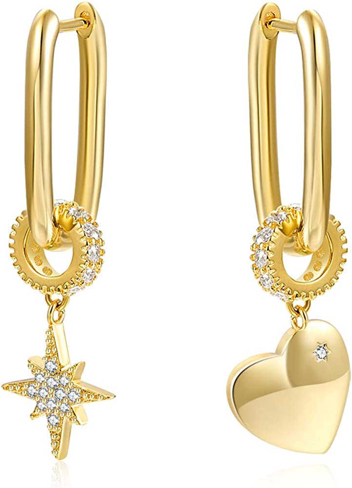 SELENECHEN Earrings Star Moon Max 64% OFF Heart Chunky Necklace Hoop C Super sale period limited