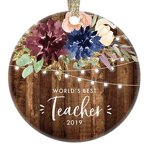 DKISEE Dekofigur für Lehrer, 7,6 cm, kreisförmig, aus Keramik, dekorativ, Weihnachtsbaum, hängende Ornamente
