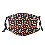 Comfortable Windproof mask,Abstract Beings with Cute Facial Expressions Crying Laughing Happy Colorful Stars,Printed Facial Decorations for Unisex