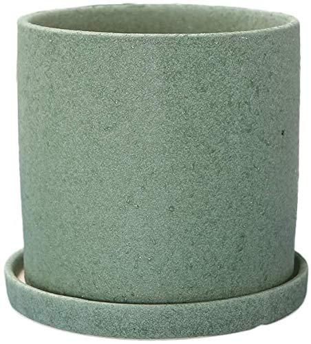 Keramik Blumentopf mit Keramik Tray Runde Sukkulente Kaktus-Anlage Schüssel Pflanze Stehen Blumentöpfe im Freien Innen (Farbe: Grau, Größe: Übergröße) Pflanzkübel-Keramik, geeignet für Schlafzimmer of