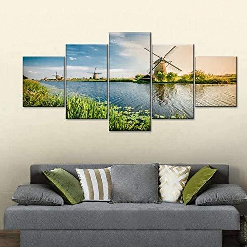 QWASD Molinos De Viento De Rotterdam 5 Piezas Cuadros Lienzo Decoracion Salon Modernos De Pared Papel Pintado Murales Pintura Póster Fotos Regalo