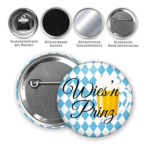 MeLifestyle Button 59mm Oktoberfest Volksfest Wies'n Prinz Bier für Dirndl oder Lederhose