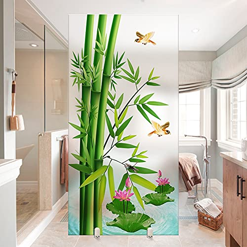 MSLZQMX Bambú Pegatinas De Vidrio Opaco Transparente para Baño Película De Vidrio Esmerilado Antifisgones,90x100cm