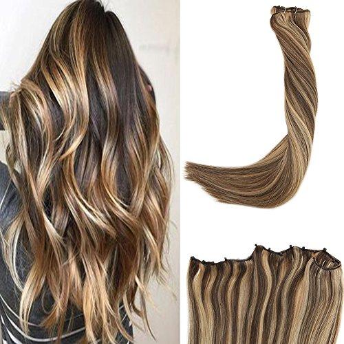 LaaVoo Unsichtbar Haar Tressen Echthaat EZE Weave Klavier Farbe Dunkelbraun Mischen Karamellblond 50GR Microbeads Hair Extensions 12