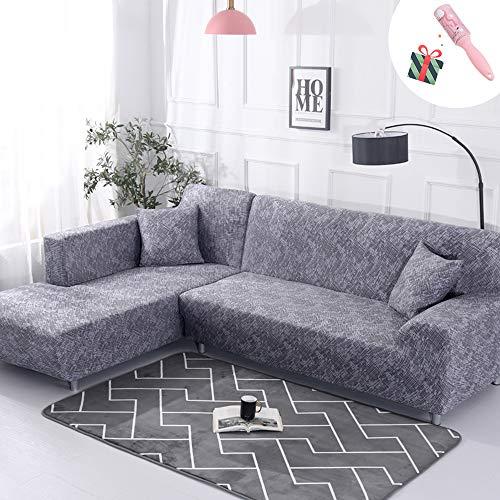 Funda Sofá de 3 plazas Universal Estiramiento, Morbuy Moderno Cubierta de Sofá Cubre Sofá Funda Furniture Protector Antideslizante Elastic Soft Sofa Couch Cover (2 plazas,Gris)