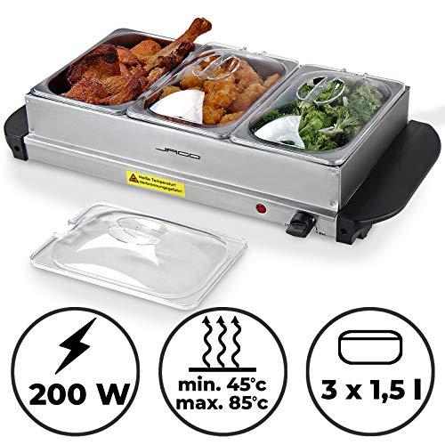 Buffetwärmer - Elektrisch, mit Heizplattenfunktion, Setwahl, Temperaturregler, Edelstahl - Warmhaltegerät, Speisewärmer, Warmhalteplatte, Warmhaltebehälter (1er, 3x1.5L)