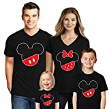 Natural Underwear Family Trip #1 Mickey Mouse Minnie Mouse Head and Ears Family Trip 2020 T-Shirts Kids Boys Matching V Neck T Shirts Women Black Small