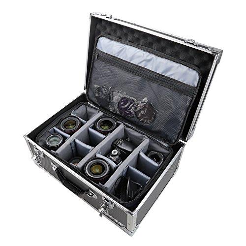 HMF 18440 - Maletín para cámara de fotos (aluminio, con bolsillo, separadores individuales, 48 x 32 x 22,5 cm), color negro