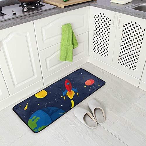 Jereee - Felpudo Rectangular de poliéster con diseño de Cohete terráqueo y Nave Estelar, Antideslizante, para la Cocina, para la Oficina, para el hogar, 39 x 20 Pulgadas