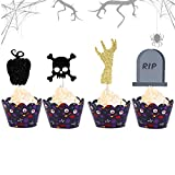 Set of 48 Halloween Cake Topper Haunted House Cake Topper Halloween Cake Decoration Wizard Cupcake Topper Ghost Cake Decoration Pumpkin Cupcake Decoration for Wizard Party Ghost Party Spider Party