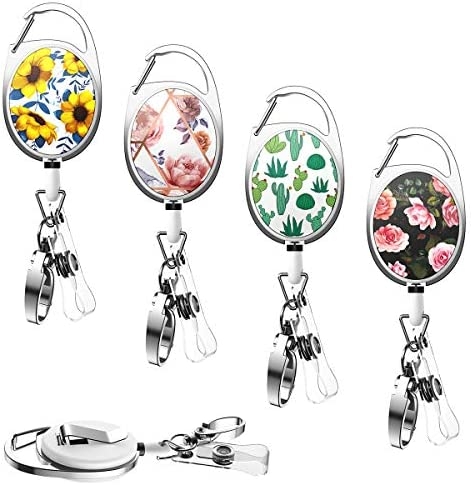 YoungRich 4PCS Retractable Badge Holders with Carabiner Alligator Clip Cute Floral Cactus Design product image