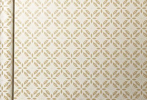 Clairefontaine 223830C Rolle Geschenkpapier Tiny rolls Kraft mit Blumenmotiven (5 m x 0,35m, innovative Breite, einfach zum Transportieren, 70g, Blauer Engel) 1 Rolle, gold/weiß